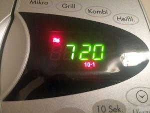 Einstellung auf 720 Watt