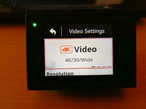 4K Einstellung am Display einer Action Cam