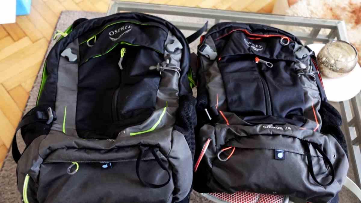 Osprey Sirrus 24 neben Stratos 24