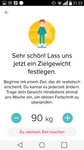 Fitbit-App Screenshoot Zielgewicht
