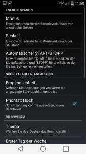 Screenshot Schrittzähler von ITO Technologies Einstellungen