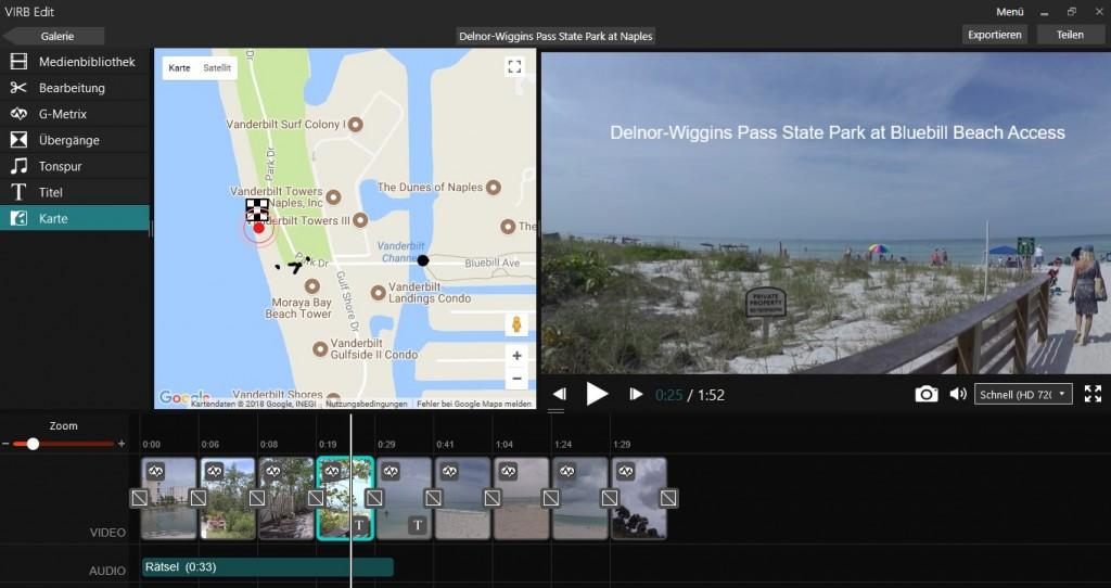Virb Edit Software mit Map