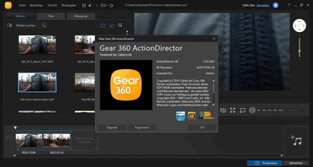 Die Desktop-Software Gear 360 ActionDirector von Cyberlink