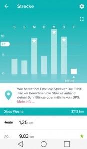 Wochenansicht Distanzmessung bei Fitness-Armband