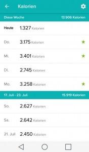 Kalorienverbrauchsanzeige Fitbit App