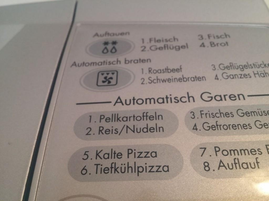 Pizzafunktion an der Mikrowelle