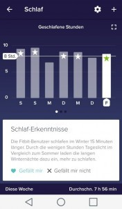 Screenshot Schlafmonitoring Fitbit App