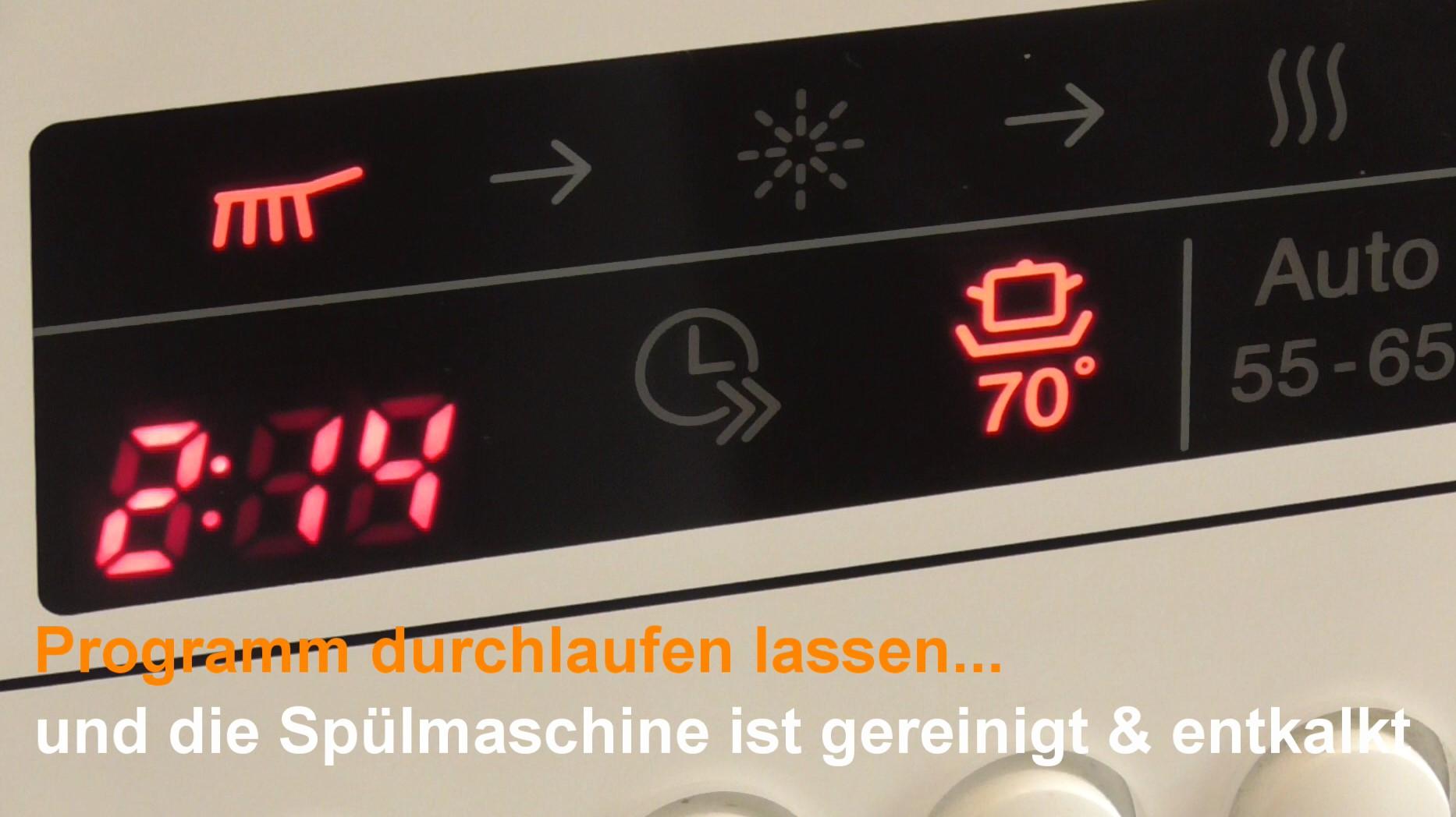 Display einer Spülmaschine mit Programmauswahl